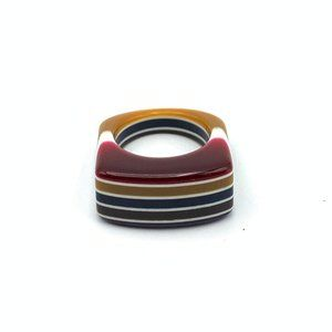 Jewelry - Lucite Striped Ring Fall Color Red Yellow White